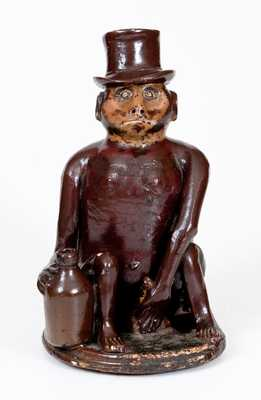Large-Sized Stoneware Seated Monkey Figure, Southern or Midwestern origin, c1885