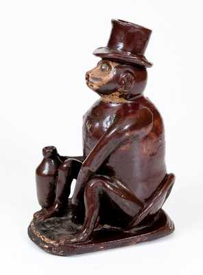 Large-Sized Stoneware Drunken Monkey Figure, Southern or Midwestern, circa 1885
