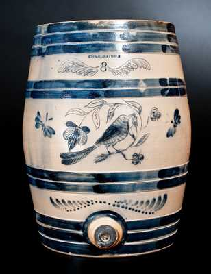 Monumental Eight-Gallon CHARLESTOWN (Boston, Mass.) Stoneware Keg-Form Cooler with Incised Bird and Floral Motifs