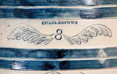 Exceptional CHARLESTOWN Stoneware Keg w/ Elaborate Incised Bird and Brushed Butterfly Decoration