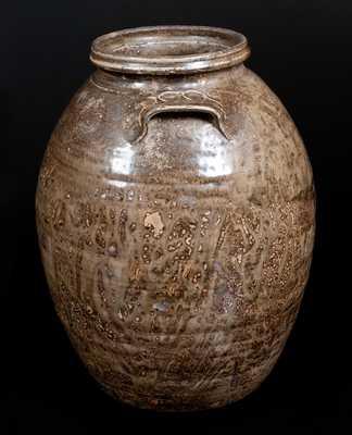 Very Unusual Isaac E. Gay, Kershaw County, SC Alkaline-Glazed Stoneware Jar