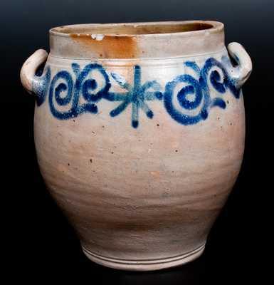 Extremely Rare C. CROLIUS Manhattan Stoneware Jar w/ Eighteenth-Century-Style Watchspring Design