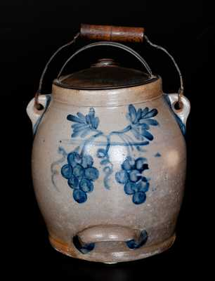 COWDEN & WILCOX / HARRISBURG, PA Stoneware Batter Pail w/ Elaborate Cobalt Grapes and Floral Design
