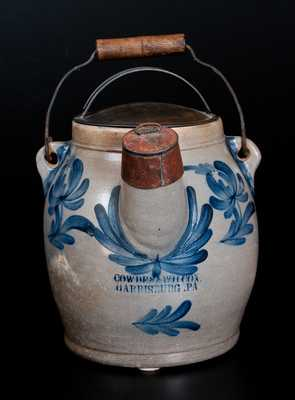 Fine COWDEN & WILCOX / HARRISBURG, PA  Stoneware Batter Pail w/ Grapes and Floral Decoration