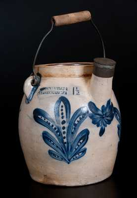 COWDEN & WILCOX / HARRISBURG, PA Stoneware Batter Pail w/ Spotted Cobalt Foliate Decoration