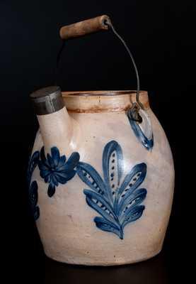 COWDEN & WILCOX / HARRISBURG, PA Stoneware Batter Pail w/ Exceptional Floral Decoration