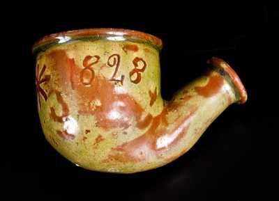 Unusual Glazed Redware Pipe Bowl Inscribed