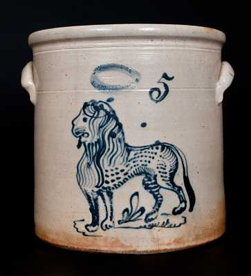 Outstanding J. BURGER JR. / ROCHESTER, NY 5 Gal. Stoneware Lion Crock