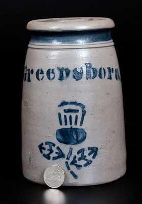 Exceptional Small GREENSBORO Stoneware Canning Jar w/ Thistle Decoration