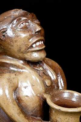 Important J. L. Mathews, Rock Mills, AL, 1890-1910 African American Stoneware Figural Face Bank