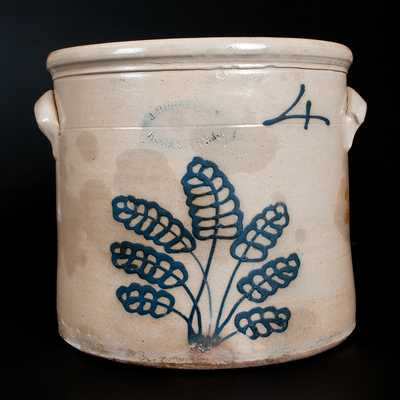 4 Gal. J. BURGER JR. / ROCHESTER Stoneware Crock w/ Slip-Trailed Foliate Decoration
