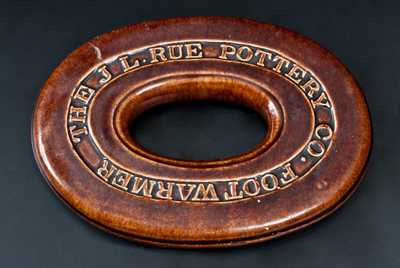 Rare Rockingham J. L. RUE POTTERY FOOTWARMER, Matawan, NJ, circa 1881