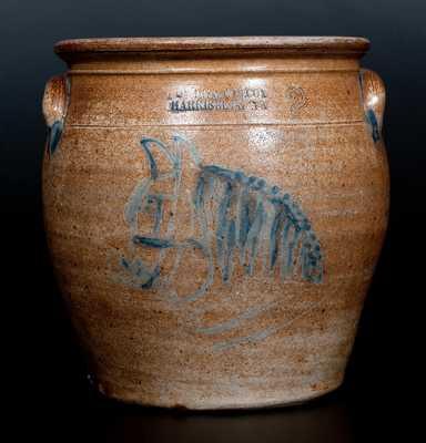 Very Rare COWDEN & WILCOX / HARRISBURG, PA Stoneware Crock w/ Horse's Head Design