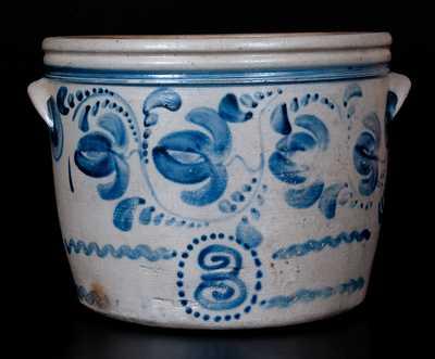 Rare Three-Gallon Western PA Stoneware Bowl w/ Profuse Cobalt Fuchsia Decoration