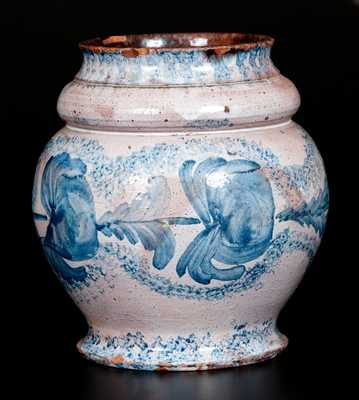 Extremely Rare I. BELL (John Bell) Tin-Glazed Redware Jar, Winchester, VA or Hagerstown, MD, c1825