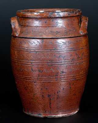 Rare Glazed Southern Redware Jar, attributed to the Henkel-Spigle Pottery, Botetourt County, VA, c1830-50