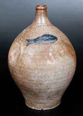 Two-Gallon BOSTON Stoneware Jug w/ Impressed Fish Decoration, late 18th century