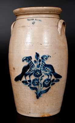 6 Gal. WHITES UTICA Stoneware Churn with Fine Bird and Floral Decoration