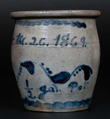 Attrib. A. Conrad, Greensboro, PA Stoneware Jar Inscribed