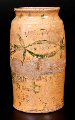 Extremely Rare Redware LIBERTY Jar with Incised Decoration, Dated 1826