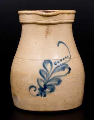 One-Gallon Stoneware Pitcher w/ Cobalt Foliate Decoration, Fort Edward, N.Y. origin