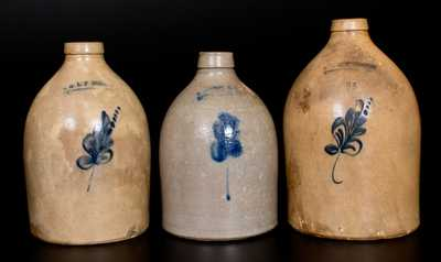 Three E & L P NORTON / BENNINGTON, VT Stoneware Jugs, circa 1870