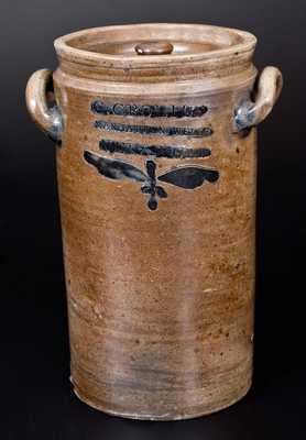 Rare Lidded C. CROLIUS / MANHATTAN, WELLS / NEW-YORK Stoneware Jar w/ Incised Design