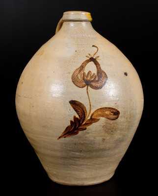 L. NORTON & SON / BENNINGTON Stoneware Jug w/ Ochre Tulip Decoration c1833-41