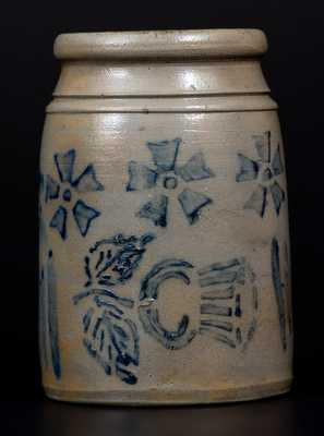 Very Unusual One-Quart Stoneware Wax Sealer w/ Thistle and Pinwheel Decoration