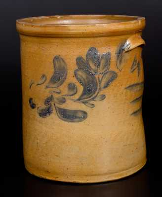 J. SWANK & CO. / JOHNSTOWN, PA Stoneware Crock with Cobalt Floral Decoration