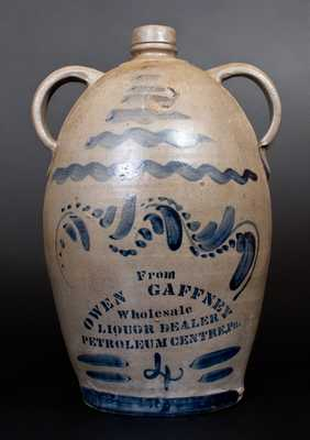 Very Rare Petroleum Centre, PA Stoneware Advertising Jug, Western PA origin, c1875