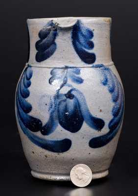 Rare and Fine Quart-Sized Baltimore Stoneware Pitcher w/ Cobalt Floral Decoration
