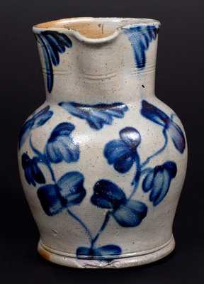 Fine Half-Gallon Henry H. Remmey, Philadelphia, PA Stoneware Pitcher w/ Elaborate Cobalt Floral Decoration
