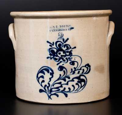 2 Gal. J. & E. NORTON / BENNINGTON, VT Stoneware Crock with Slip-Trailed Floral Decoration
