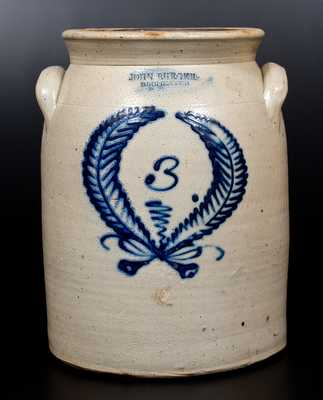 3 Gal. JOHN BURGER / ROCHESTER Stoneware Jar with Wreath Decoration