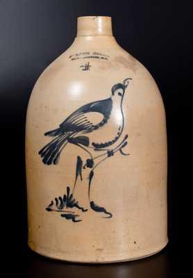 4 Gal. FULPER BROS. / FLEMINGTON, N.J. Stoneware Jug with Fine Bird-on-Stump Decoration