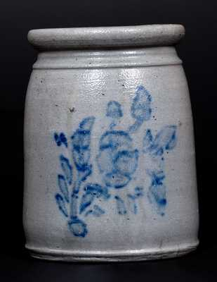 Unusual Cobalt-Decorated Stoneware Canning Jar with Floral Stencil, Western PA origin, circa 1875