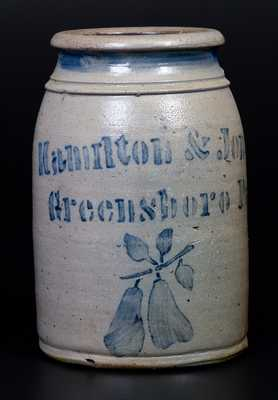 Fine Hamilton & Jones / Greensboro, Pa Stoneware Wax Sealer with Stenciled Pears Decoration
