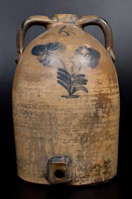 6 Gal. Ohio Stoneware Jug Cooler with Floral Decoration