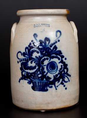 Scarce  J. & E. NORTON / BENNINGTON, VT Stoneware Jar with Fine Basket-of-Flowers Decoration