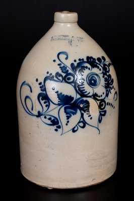 4 Gal. J. NORTON & CO. / BENNINGTON, VT Stoneware Jug with Fine Slip-Trailed Floral Decoration