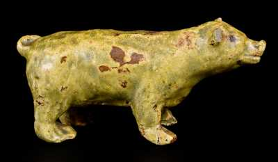 Alkaline-Glazed Stoneware Pig Figure, second half 19th century