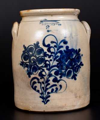 Scarce 2 Gal. S. D. KELLOGG / WHATELY Stoneware Jar with Slip-Trailed Floral Decoration