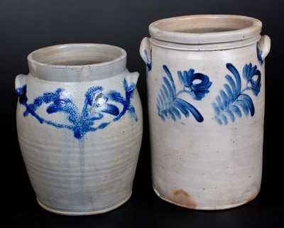 Lot of Two: Baltimore Stoneware Jars with Cobalt Decoration