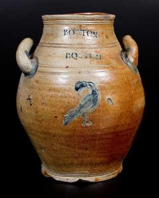 Rare BOSTON Stoneware Jar w/ Impressed Bird-Eating-Grapes Decoration, late 18th century