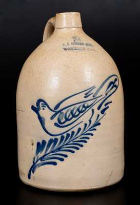 F.B. NORTON SONS / WORCESTER MASS Stoneware Jug w/ Large Cobalt Dove Decoration