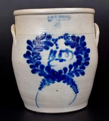 4 Gal. J. & E. NORTON / BENNINGTON, VT Stoneware Jar w/ 1858 Date and Large Cobalt Wreath