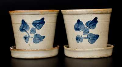 Lot of Two: Stoneware Flowerpots attributed to the Fulper Pottery, Flemington, NJ, c1890