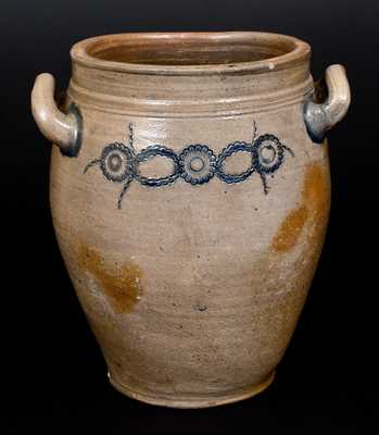 Very Unusual Stoneware Jar w/ Impressed Decoration, att. Crolius, Manhattan, early 19th century
