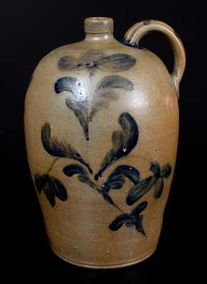 Exceptional JOHN BELL / WAYNESBORO Stoneware Jug with Elaborate Floral Decoration